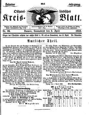 Osthavelländisches Kreisblatt vom 03.04.1858