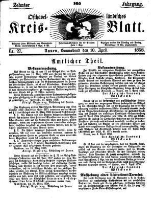 Osthavelländisches Kreisblatt vom 10.04.1858