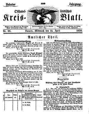 Osthavelländisches Kreisblatt vom 14.04.1858