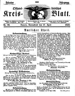 Osthavelländisches Kreisblatt vom 17.04.1858