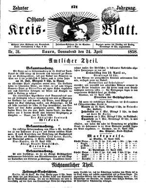 Osthavelländisches Kreisblatt vom 24.04.1858