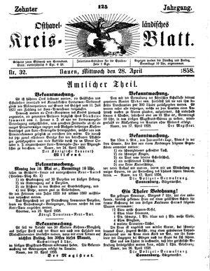 Osthavelländisches Kreisblatt vom 28.04.1858