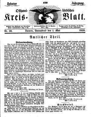 Osthavelländisches Kreisblatt vom 01.05.1858
