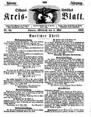 Osthavelländisches Kreisblatt vom 05.05.1858