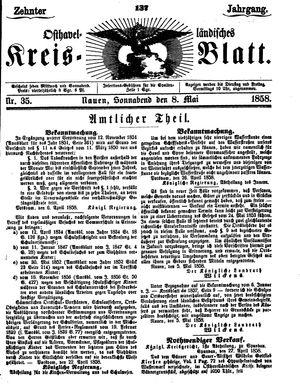 Osthavelländisches Kreisblatt vom 08.05.1858