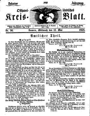 Osthavelländisches Kreisblatt vom 12.05.1858