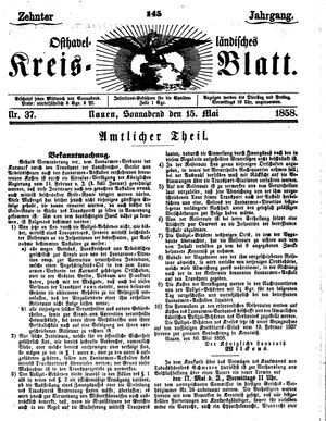 Osthavelländisches Kreisblatt vom 15.05.1858