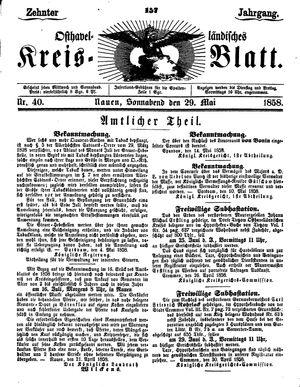 Osthavelländisches Kreisblatt vom 29.05.1858