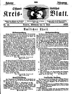 Osthavelländisches Kreisblatt vom 02.06.1858
