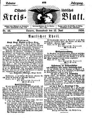 Osthavelländisches Kreisblatt vom 12.06.1858