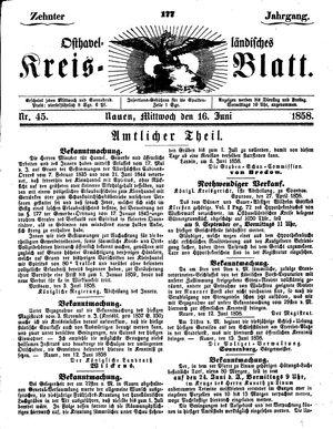 Osthavelländisches Kreisblatt vom 16.06.1858
