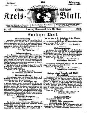 Osthavelländisches Kreisblatt vom 19.06.1858