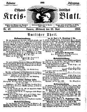 Osthavelländisches Kreisblatt vom 23.06.1858