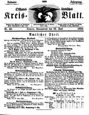 Osthavelländisches Kreisblatt vom 26.06.1858