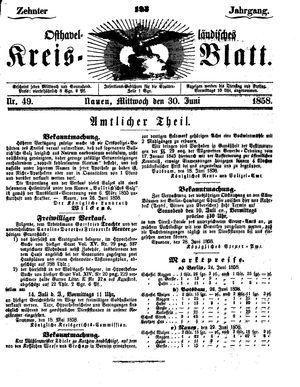 Osthavelländisches Kreisblatt vom 30.06.1858