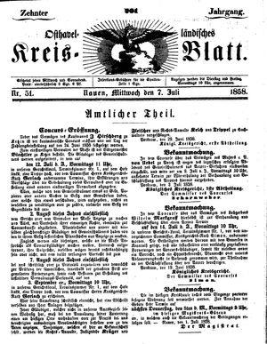 Osthavelländisches Kreisblatt vom 07.07.1858