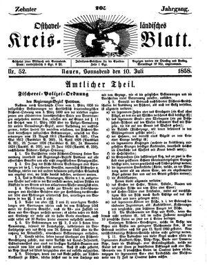 Osthavelländisches Kreisblatt vom 10.07.1858
