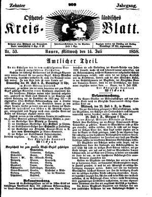 Osthavelländisches Kreisblatt vom 14.07.1858