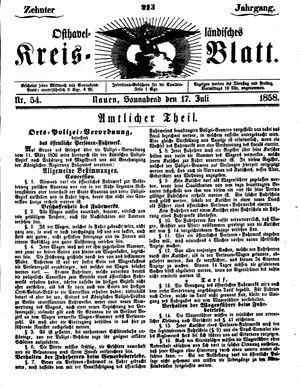 Osthavelländisches Kreisblatt vom 17.07.1858