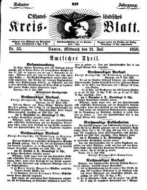 Osthavelländisches Kreisblatt vom 21.07.1858
