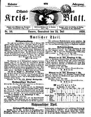 Osthavelländisches Kreisblatt vom 24.07.1858