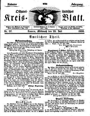 Osthavelländisches Kreisblatt vom 28.07.1858