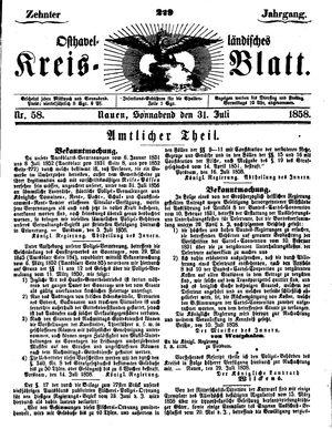 Osthavelländisches Kreisblatt vom 31.07.1858