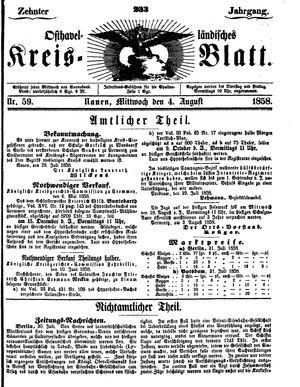 Osthavelländisches Kreisblatt vom 04.08.1858
