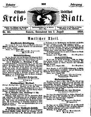 Osthavelländisches Kreisblatt vom 07.08.1858