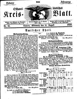 Osthavelländisches Kreisblatt vom 11.08.1858