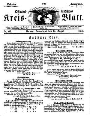 Osthavelländisches Kreisblatt vom 14.08.1858
