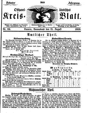 Osthavelländisches Kreisblatt vom 21.08.1858