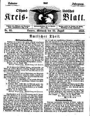 Osthavelländisches Kreisblatt vom 25.08.1858