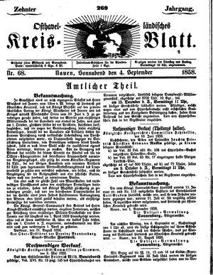 Osthavelländisches Kreisblatt vom 04.09.1858