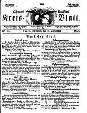 Osthavelländisches Kreisblatt vom 08.09.1858