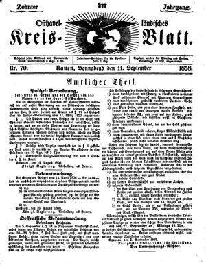 Osthavelländisches Kreisblatt vom 11.09.1858