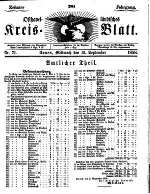 Osthavelländisches Kreisblatt vom 15.09.1858