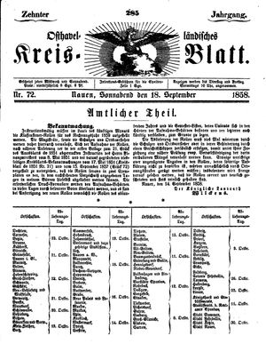 Osthavelländisches Kreisblatt vom 18.09.1858