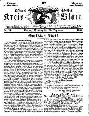 Osthavelländisches Kreisblatt vom 29.09.1858