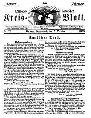 Osthavelländisches Kreisblatt vom 02.10.1858