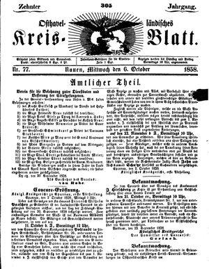 Osthavelländisches Kreisblatt vom 06.10.1858