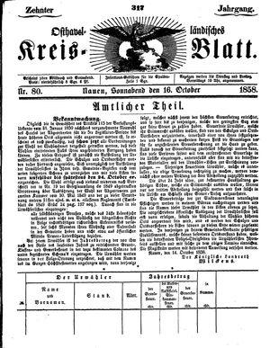 Osthavelländisches Kreisblatt vom 16.10.1858