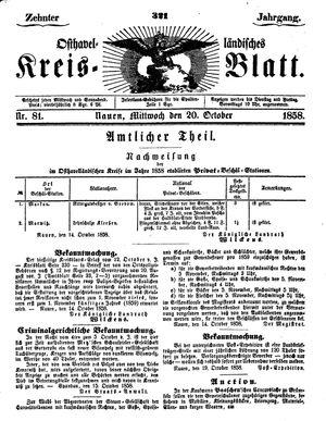 Osthavelländisches Kreisblatt vom 20.10.1858
