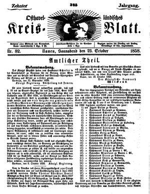 Osthavelländisches Kreisblatt vom 23.10.1858