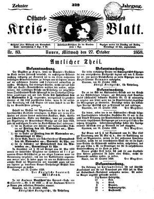 Osthavelländisches Kreisblatt vom 27.10.1858
