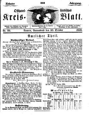 Osthavelländisches Kreisblatt vom 30.10.1858