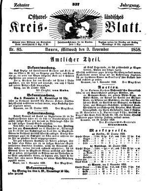 Osthavelländisches Kreisblatt vom 03.11.1858