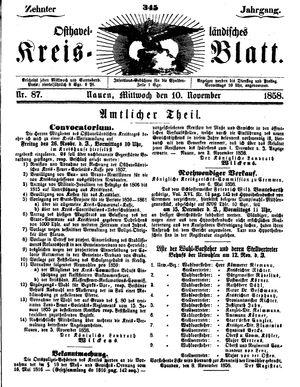 Osthavelländisches Kreisblatt vom 10.11.1858