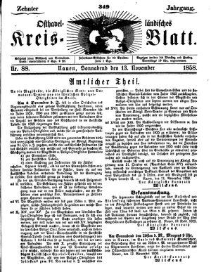 Osthavelländisches Kreisblatt vom 13.11.1858
