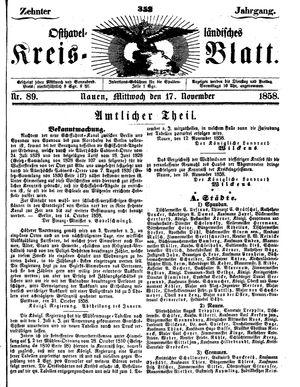 Osthavelländisches Kreisblatt vom 17.11.1858